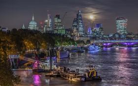 Картинка ночь, мост, огни, река, луна, Англия, Лондон