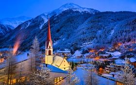Обои зима, лес, снег, деревья, горы, ночь, огни