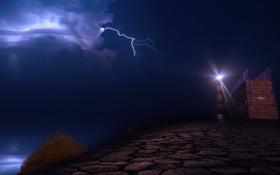Обои Port la Nouvelle, маяк, Франция, молния, ночь, свет, небо