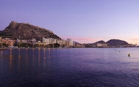 Обои море, горы, побережье, дома, вечер, Испания, Valencia