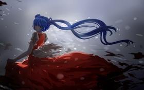 Обои hatsune miku, девушка, арт, vocaloid, аниме, волосы