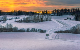 Картинка зима, дорога, поле, снег