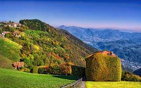 Обои деревья, горы, дома, склон, Италия, солнечно, Lombardy