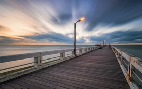 Картинка море, закат, мост