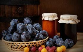 Обои фрукты, натюрморт, сливы, варенье
