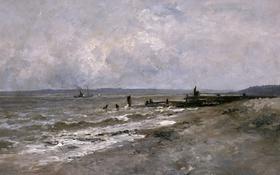 Обои корабль, картина, причал, морской пейзаж, Карлос де Хаэс, Пляж в Виллервиле