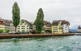 Обои деревья, озеро, дома, Швейцария, набережная, Lucerne