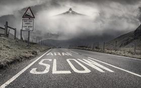 Обои самолёт, дорога, туман