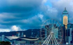 Обои башня, небоскреб, дома, Гонконг, Китай, колесо обзора