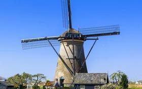 Обои мельница, канал, домики, Нидерланды, солнечно