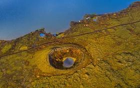 Обои море, панорама, дом, Исландия, кратер