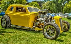 Обои желтый, двигатель, мощь, hdr, кузов, 1934 CHRYSLER COUPE