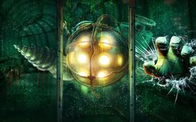 Обои BioShock, игра, стекло, арт, трещины, рука, Big Daddy