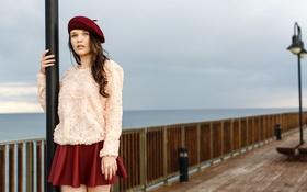 Картинка девушка, юбка, причал, фонари, берет, свитер, Serena Wood