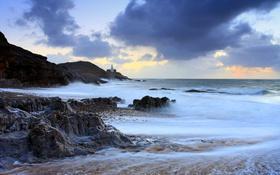 Обои море, скалы, маяк, Уэльс, графство Гламорган, Гауэр