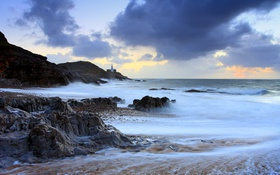 Картинка море, скалы, маяк, Уэльс, графство Гламорган, Гауэр