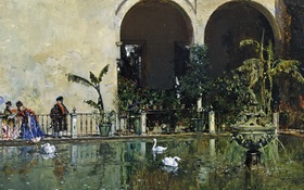 Обои картина, Раймундо Мадрасо, Пруд в Саду Альказар в Севилье