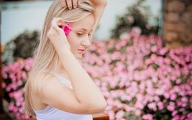 Картинка цветок, лето, девушка, лицо, волосы