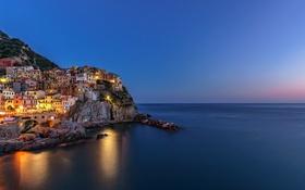 Обои море, горы, город, скалы, Италия, Манарола, Чинкве-Терре
