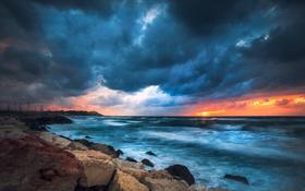Обои море, небо, облака, пейзаж, закат, природа