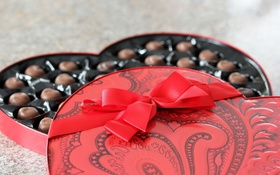 Обои фон, коробка, конфеты