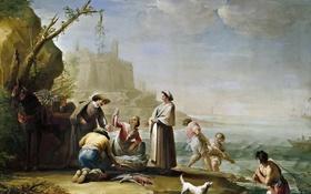Обои пейзаж, картина, жанровая, Рыбаки, Мариано Сальвадор Маэлья