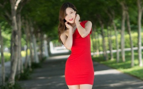 Картинка лето, девушка, лицо, улыбка, красное, фигура, платье