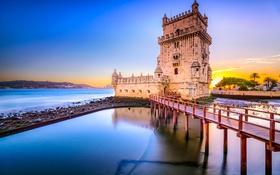 Обои небо, закат, мост, река, башня, крепость, Португалия
