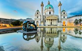 Обои дизайн, отражение, Австрия, водоем, дворец, скульптуры, Vienna