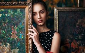 Картинка девушка, милая, модель, портрет, картины, шатенка, красивая
