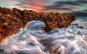 Обои море, волны, брызги, скалы, hdr, арка