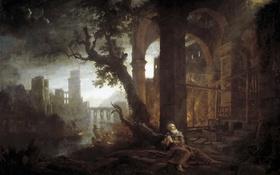Обои картина, мифология, Клод Лоррен, Пейзаж с Искушением Свого Антония