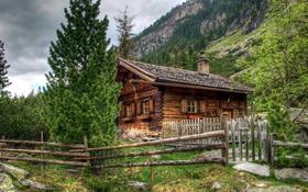 Обои деревья, горы, дом, камни, скалы, забор, обработка