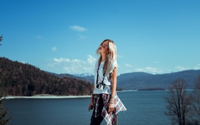 Обои Girl, Sky, Beautiful, Model, Body, Blonde, View