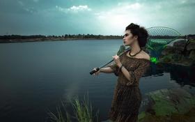 Картинка девушка, река, азиатка