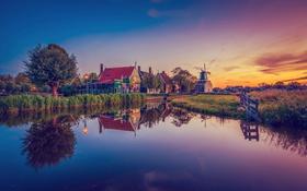 Обои дома, вечер, мельница, канал, Голландия, Zaanse Schans