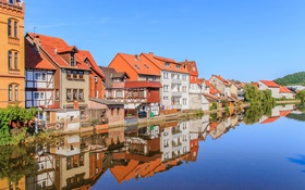 Обои небо, пейзаж, река, дома, Германия, Гессен, Гребендорф