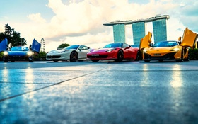 Картинка Singapore, Marina Bay, Supercar lineup, Sands hotel, Clifford Square
