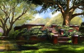 Обои цветы, озеро, сад, лестница, art, jjpeabody