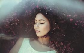 Картинка девушка, цветы, волосы, спокойствие, тайна, загадка