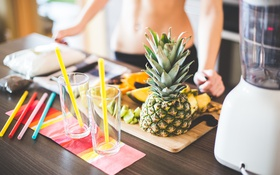 Картинка стаканы, ананас, трубочки