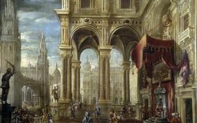 Обои город, интерьер, картина, мифология, Франсиско Гутьеррес Кабельо, Суд Соломона