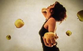 Обои девушка, фон, яблоки