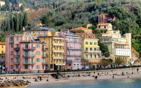 Обои море, деревья, горы, дома, Италия, Лигурия, Леричи