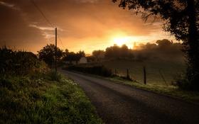 Обои дорога, закат, природа