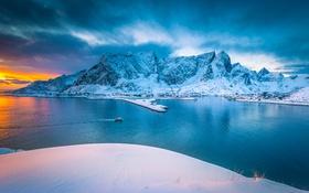 Обои Sky, Water, Mountain, Snow, Norway, Reine, Lofoten Island