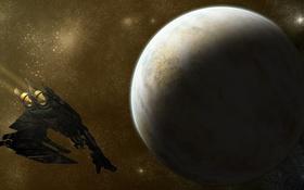 Картинка космос, звезды, полет, корабль, планета, Star Citizen, Scythe