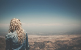 Картинка girl, woman, view, blonde, person, lookout, whitespace