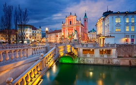 Обои ночь, мост, огни, река, дома, церковь, Словения