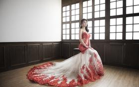 Картинка девушка, платье, азиатка, сидит